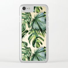 Palm Leaves Greenery Linen Clear iPhone Case