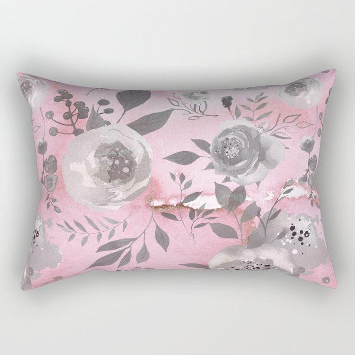 berry juice floral watercolor pink gray Rectangular Pillow