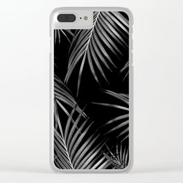 Silver Gray Black Palm Leaves Dream #1 #tropical #decor #art #society6 Clear iPhone Case