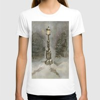narnia T-shirts featuring Lamp Post in Blue by Jen Hallbrown