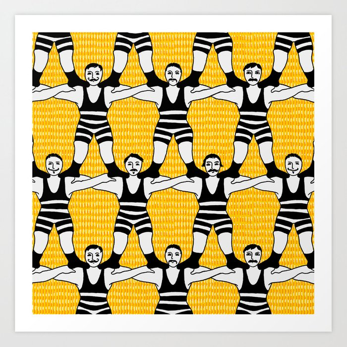 Circus Strongmen Wall Art Print by marketastengl | Society6