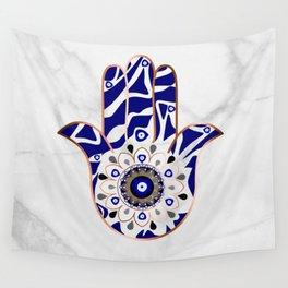 Talk to the Evil Eye Hamsa Hand Wall Tapestry