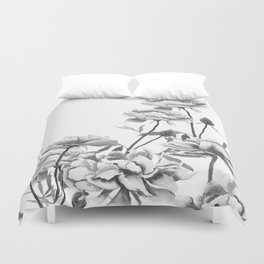 black and white peonies Duvet Cover