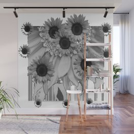 MODERN ABSTRACT BLACK & WHITE FLOWERS GARDEN  ART Wall Mural