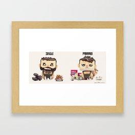 Single VS married Framed Art Print