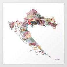 Croatia map Art Print