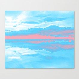 Transgender Pride Sunset & Clouds over a Lake Landscape Canvas Print