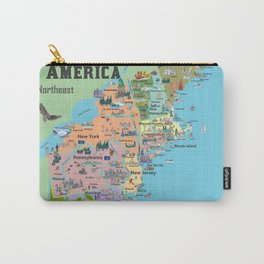 USA Northeast States Colorful Travel Map VA WV MD PA NY MS CT RI VE DE NJ With Highlights And Favori Carry-All Pouch