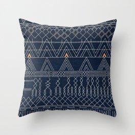 Blue Farmhouse Antique Traditional Moroccan Style Artwork Throw Pillow