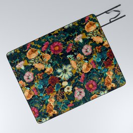 Floral Pattern Winter Garden Picnic Blanket