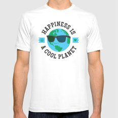 Happiness Is A Cool Planet MEDIUM Mens Fitted Tee White