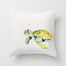 turtle watercolor art Throw Pillow