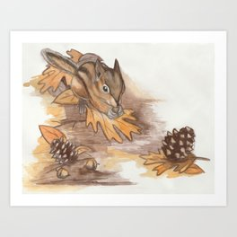 Autumn Chipmunk Art Print
