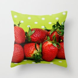 Red Strawberries on Lime Green Polka Dot Background Throw Pillow