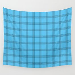 Black Grid on Bright Blue Wall Tapestry