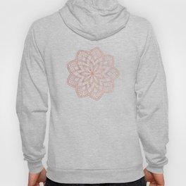 Mandala Posy Flower Rose Gold on White Hoody