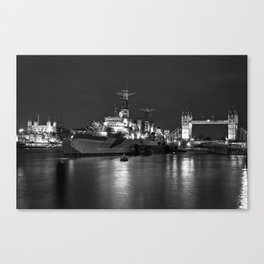HMS Belfast in Black and White Canvas Print