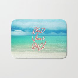 """""""Good Vibes Only""""  Quote - Turquoise Tropical Sandy Beach Bath Mat"""