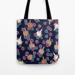 Middle Finger Floral Tote Bag