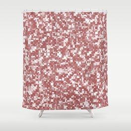Dusty Cedar Pixels Shower Curtain