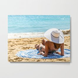 Vacation Time, Summer Holiday, Young Woman Relaxing, White Beach Hat, Happy Girl, Sea And Ocean Metal Print