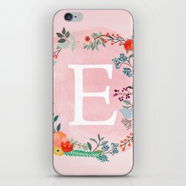 Flower Wreath with Personalized Monogram Initial Letter E on Pink Watercolor Paper Texture Artwork iPhone Skin