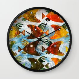 Indonesian batik, wild fish pattern Wall Clock