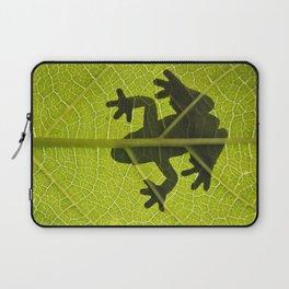 Frog on leaf against backlight Laptop Sleeve