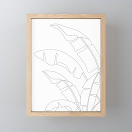 Minimal Line Art Banana Leaves Framed Mini Art Print