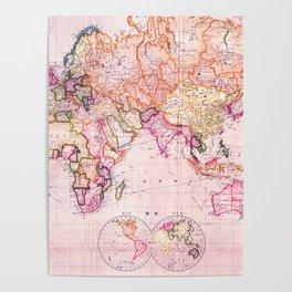 Vintage Map Pattern Poster