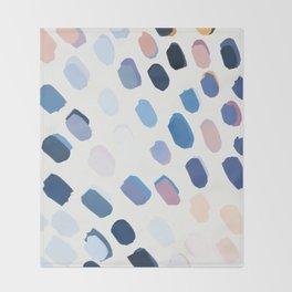 Blue Painted Dots Throw Blanket