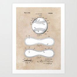 patent Maynard Baseball 1927 Art Print