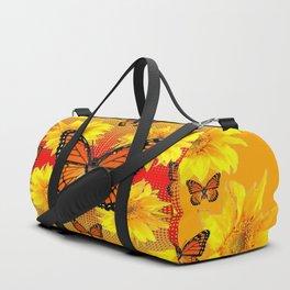 ORANGE MONARCH BUTTERFLIES & YELLOW SUNFLOWERS Duffle Bag