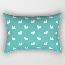 Biewer Terrier silhouette minimal dog breed art pattern dog lover terriers turquoise Rectangular Pillow