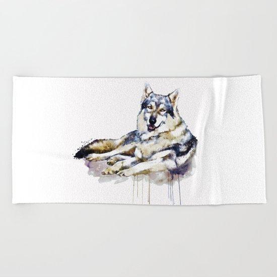 Smiling Wolf Beach Towel