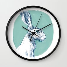 Blue Hare Wall Clock