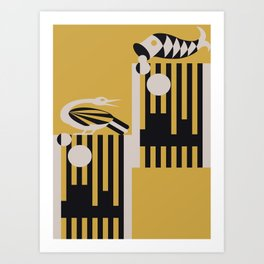 Art Deco Bird & Fish - Hemingway Art Print