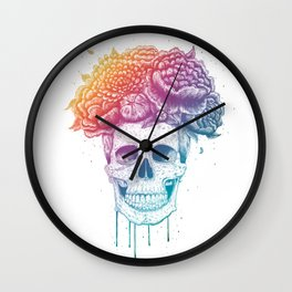 Color skull Wall Clock
