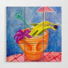 Tiki Drink no.2 with banana dolphin Wood Wall Art