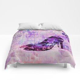 High heel female shoe watercolor art Comforters