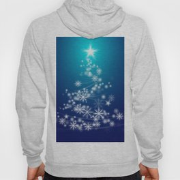 Whimsical Glowing Christmas Tree with Snowflakes in Blue Bokeh Hoody