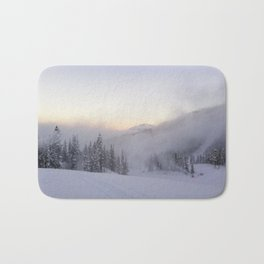 Natural and snow cannon mist in the morning Bath Mat