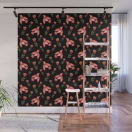 Pretty cute little wild canary birds, red blooming garden tulips, feminine nature flowers black pattern. Hello spring. Gift ideas for tulip lovers. Botanical floral animal artistic design. Wall Mural