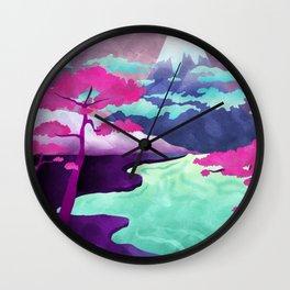 Purple Pastel Landscape Wall Clock