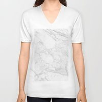 white marble V-neck T-shirts featuring White Marble by Coconuts & Shrimps