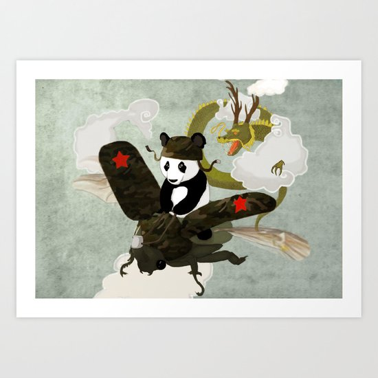 Panda's Escape. (panoramic version) Art Print