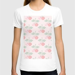 Cherry Cross Stitch Pattern on pink T-shirt