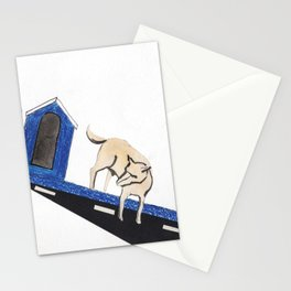 blue dog house Stationery Cards