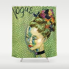 19315 Vintage Art Deco Flapper Jazz Age Young Woman Magazine Cover by Eduardo Garcia Benito Shower Curtain