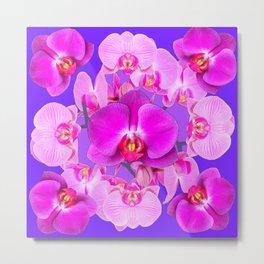 Purple & Fuchsia Pink Butterfly Orchids On Purple Art Metal Print